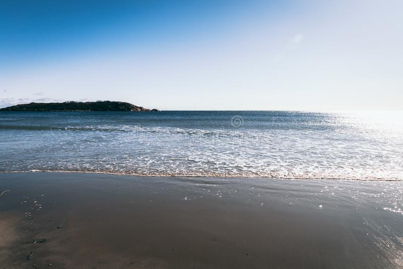 Good Harbor beach gloucester ma in winter. View of good harbor beach in gloucester massachusetts during winter stock image