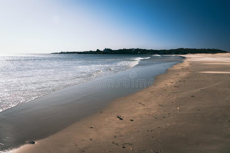 Good Harbor beach gloucester ma in winter. View of good harbor beach in gloucester massachusetts during winter royalty free stock images