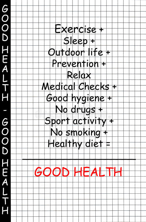 Good health concept. With some possible related topics or themes in a mathematical formula - the words good health are in red vector illustration