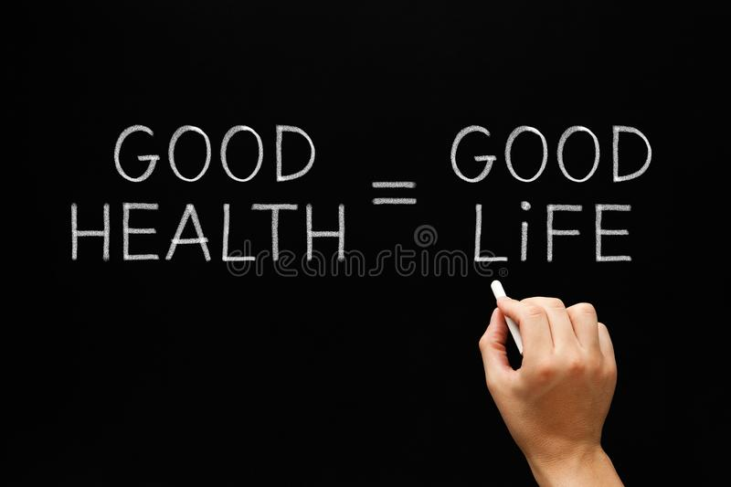 Good Health Equals Good Life stock image