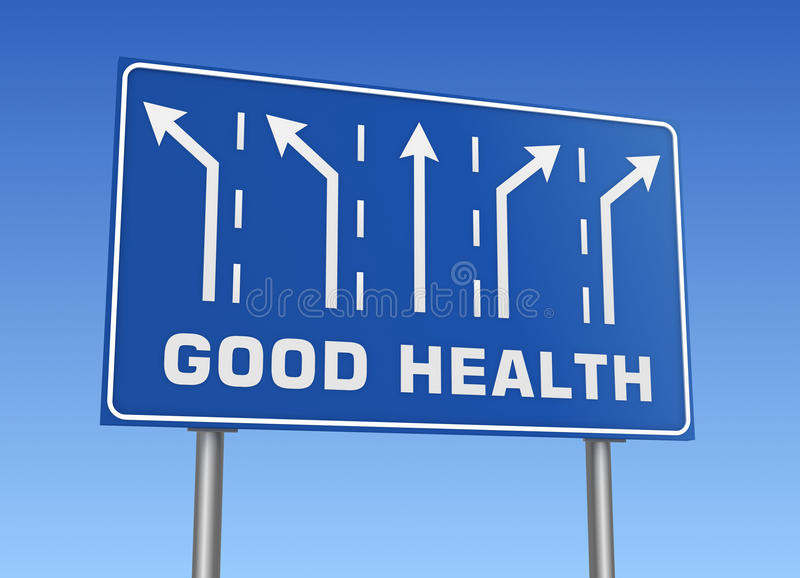 Good health road sign. 3d concept illustration on sky background stock illustration
