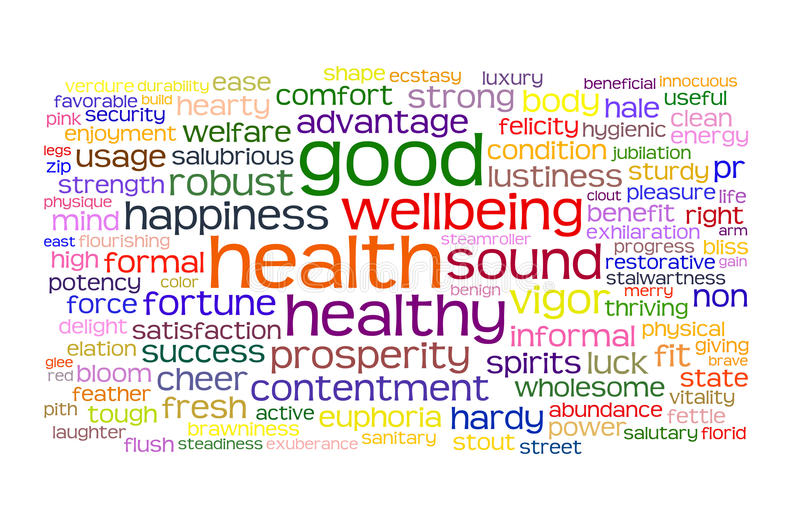 Good health and wellbeing tag cloud royalty free illustration