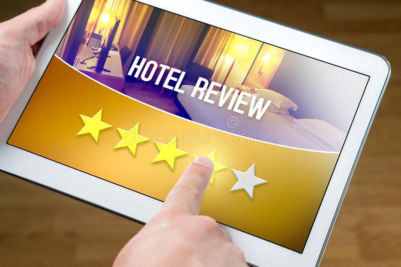 Good hotel review. Satisfied and happy customer. stock photography