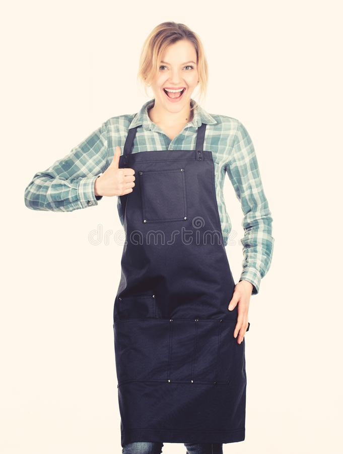 Good idea. Cook with passion for family. Woman in kitchen apron. Pretty girl in chef apron. food cooking recipe. Picnic stock photo