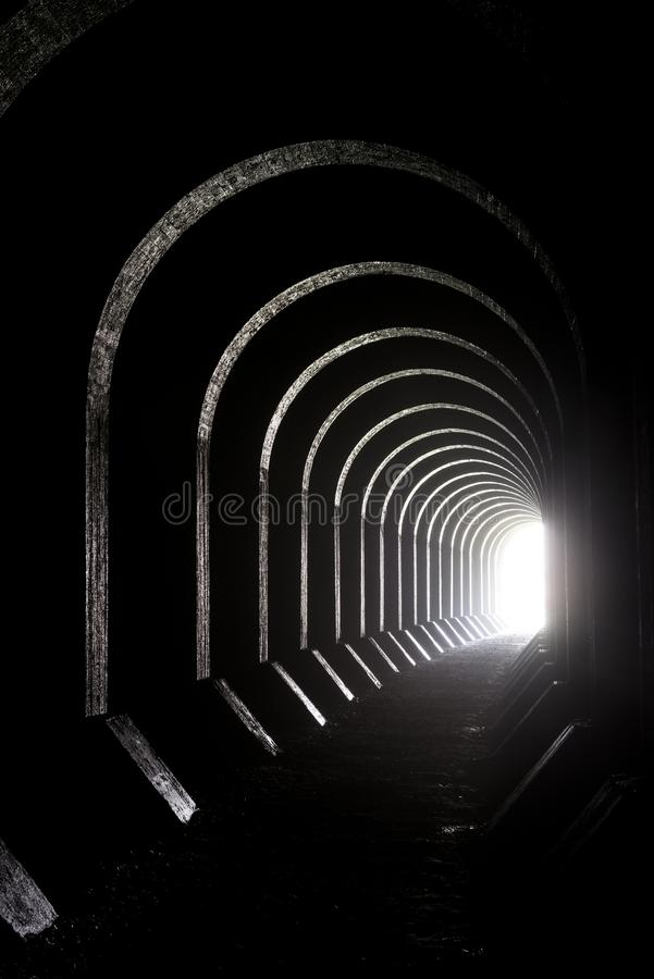 Old Tavannes Tunnel Tunnel de Tavannes in the Verdun region, v. Good image for the metaphoric expression `light at the end of the tunnel`. Old Tavannes Tunnel stock images
