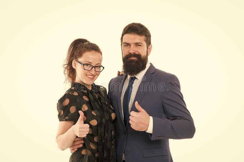 Good job. Business colleagues man hipster with beard and pretty woman eyeglasses on white background. Business. Good job. Business colleagues men hipster with stock photo