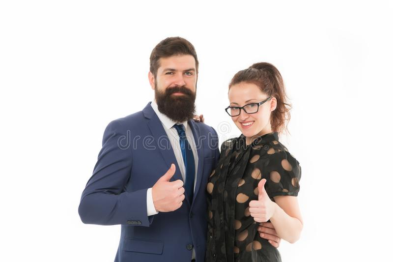 Good job. Business colleagues man hipster with beard and pretty woman eyeglasses on white background. Business royalty free stock photos