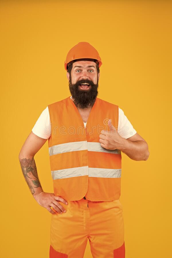 Good job. Engineering career concept. Architect builder engineer. Safety apparel for construction industry. Bearded royalty free stock photos