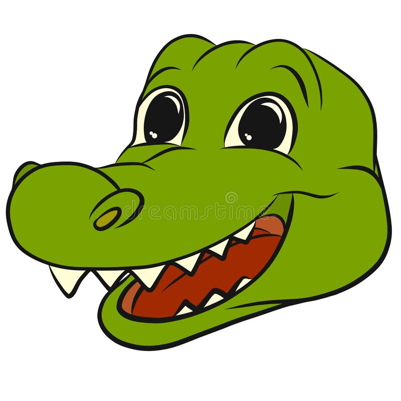 Good laughing green crocodile with a big mouth stock illustration