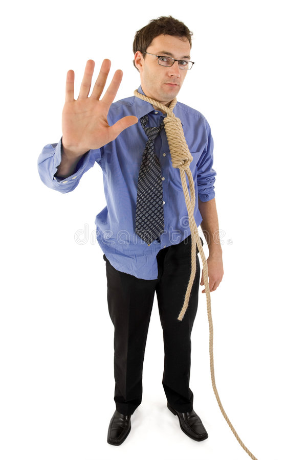 Good by life!. Sorrow businessman's last wave to the world before a difficult step in his life stock image