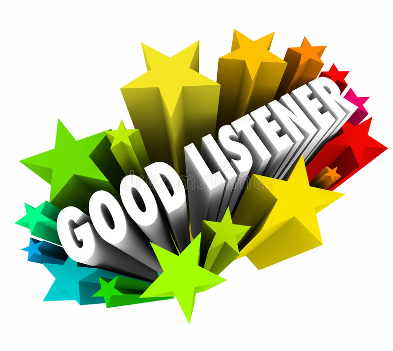 Good Listener 3d Words Sympathy Attentive Empathy. Good Listener 3d words in stars or firewords to illustrate sympathy, attention and empathy for others with royalty free illustration