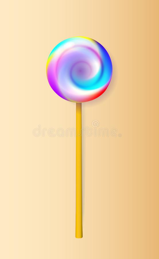 A good Lollipop. Candy on stick with twisted design. Vector illustration royalty free illustration