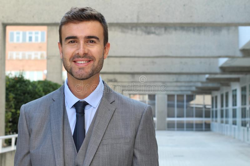 Good looking businessman isolated in office space stock photos