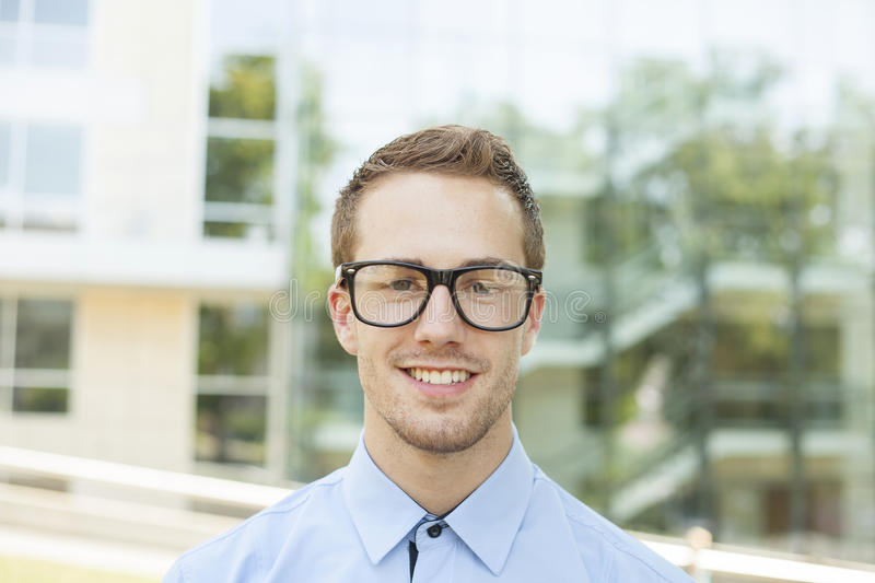 Good Looking Businessman With Retro Nerd Glasses royalty free stock images