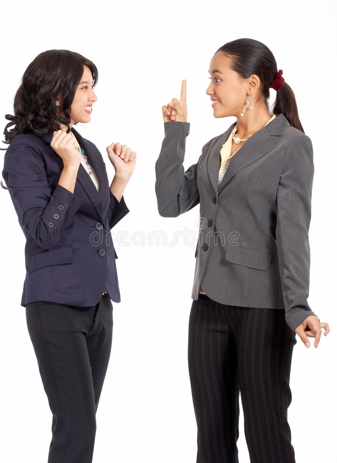Good-looking female colleagues stock photos