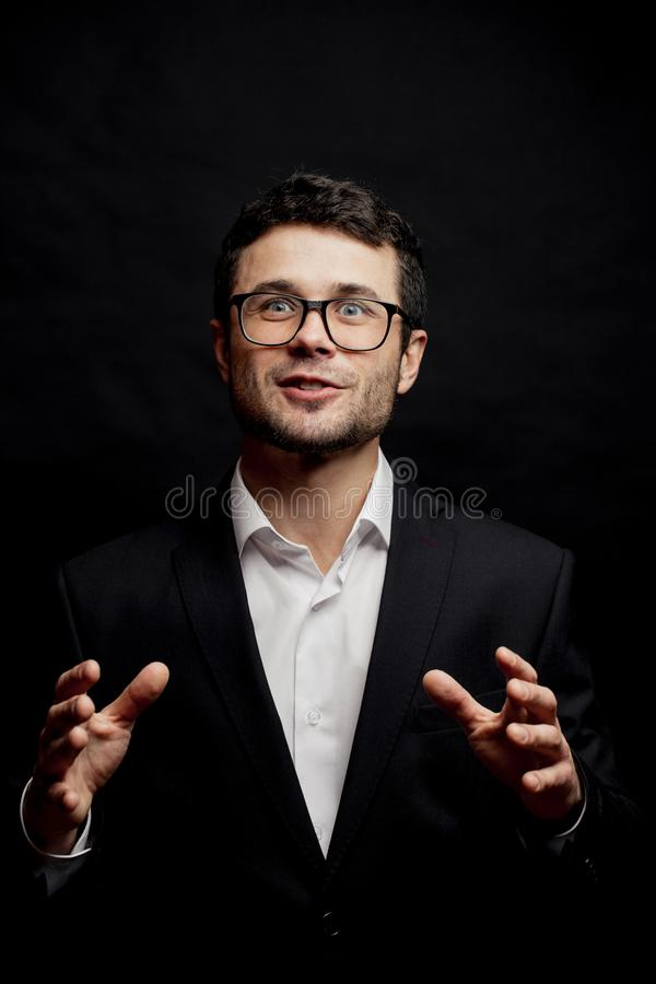 Good-looking man is a genius storytelling. Improvisation concept royalty free stock image