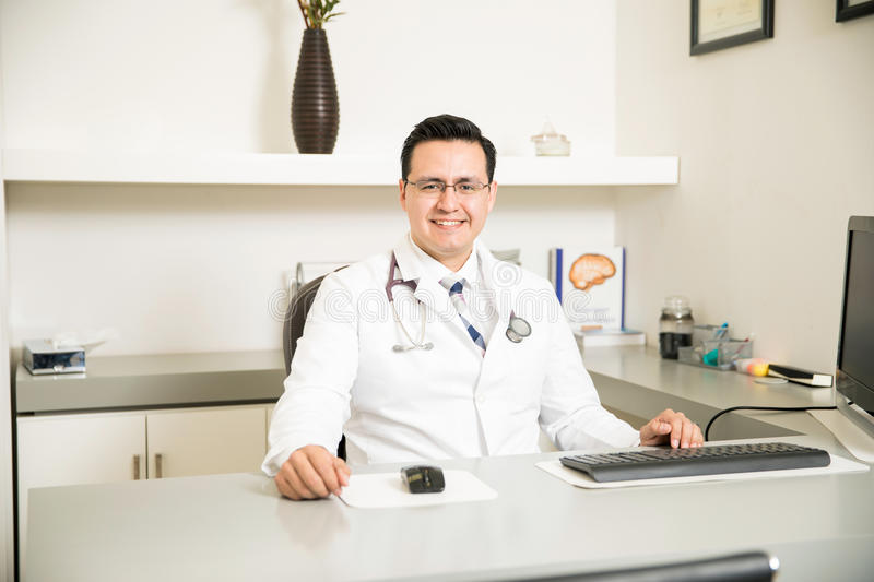 Download Good Looking Neurologist At His Office Stock Image - Image: 83707491