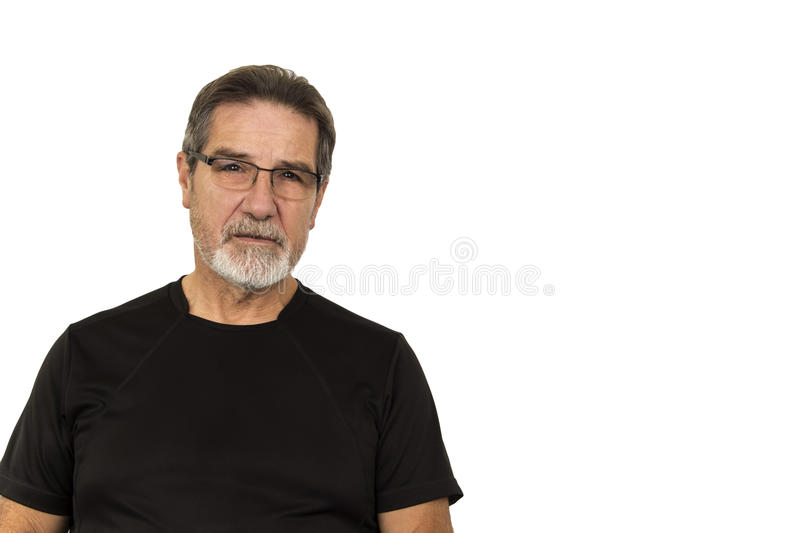Good looking old man. On white background stock image