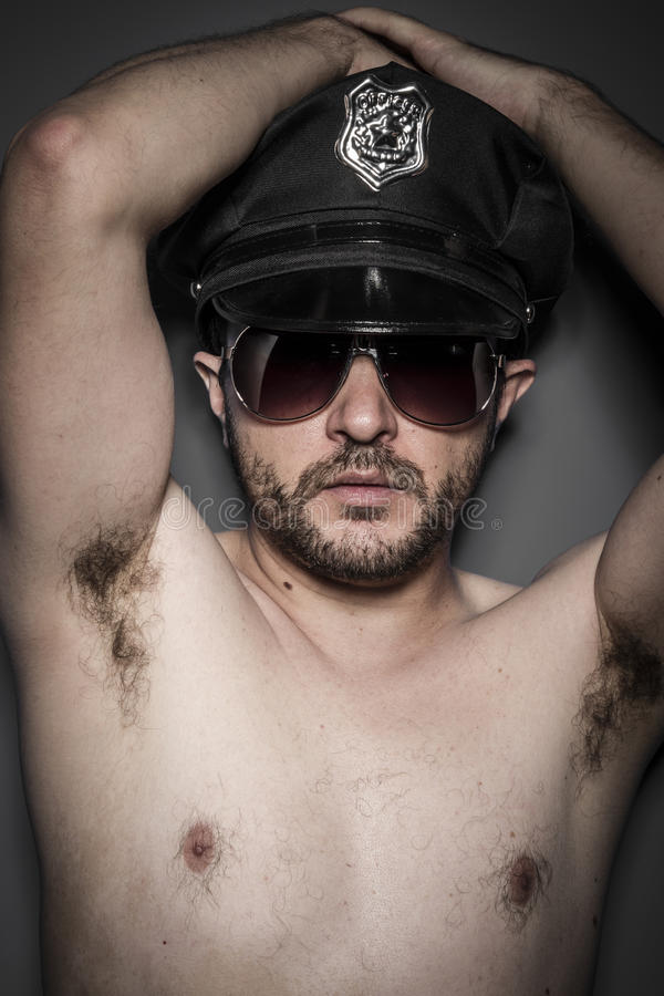 Download Good Looking Policeman, Police With Sunglasses Over Dark Ba Stock Image - Image: 38279025