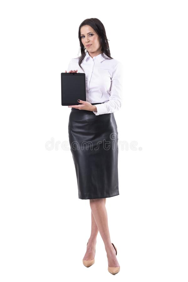 Good looking young business woman showing blank black digital tablet display royalty free stock images