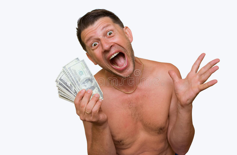 Good luck. Lucky man with money on a white background royalty free stock photography