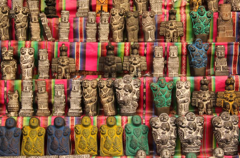 Good Luck Charms in Bolivia. Good Luck charms are for sale at the witches market in the historic centre of La Paz, Bolivia royalty free stock photo
