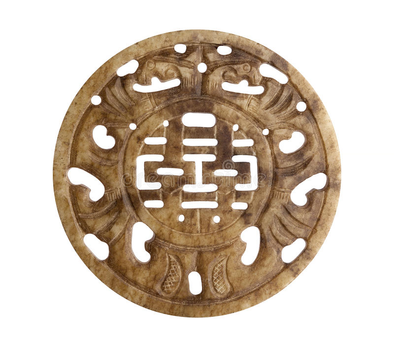 Good Luck Chinese Symbol on Stone stock image