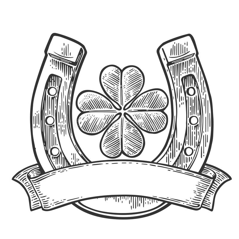 Good luck four leaf clover and horseshoe with ribbon. vector illustration
