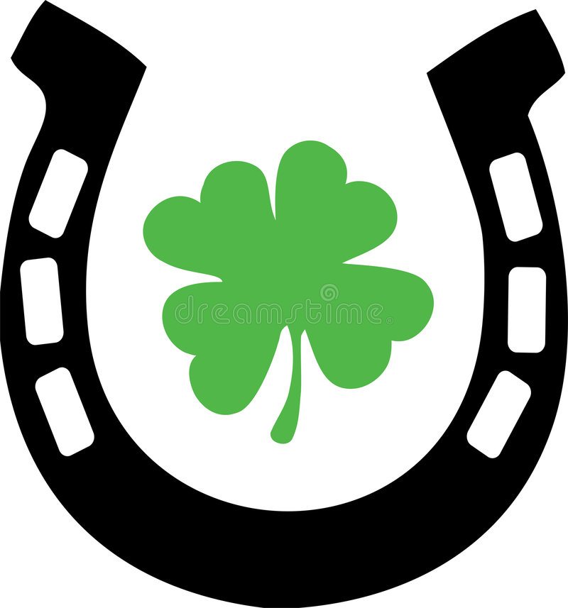 Good Luck Horse Shoe and Shamrock stock illustration