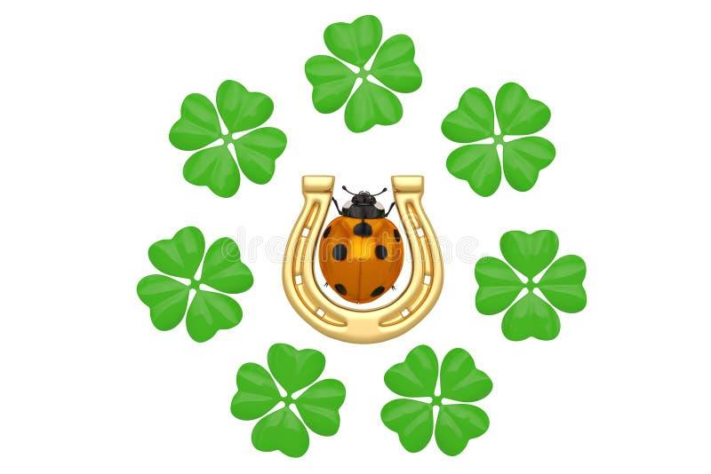 Good luck horseshoe clover ladybug on white background 3D illustration. royalty free illustration