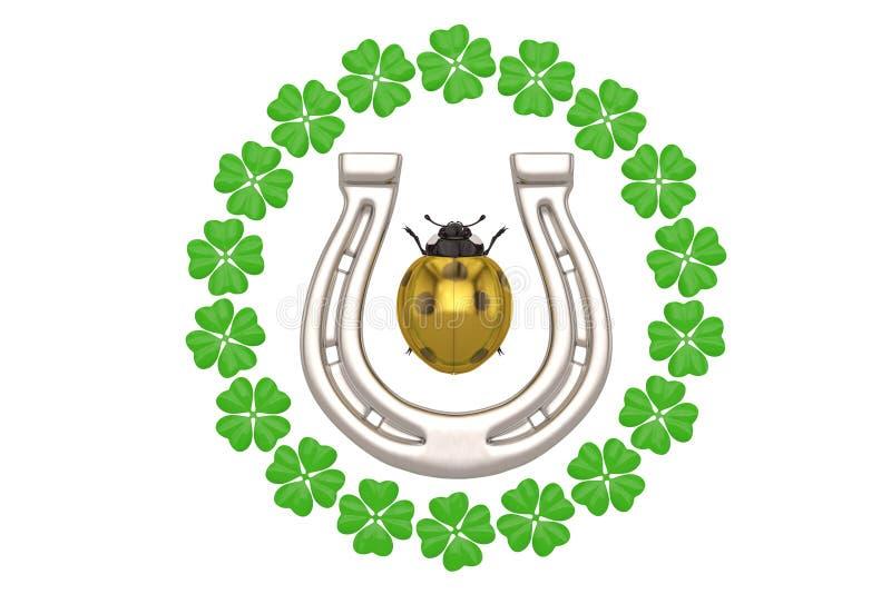 Good luck horseshoe clover ladybug on white background 3D illustration. vector illustration