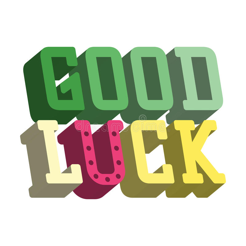 good luck isometric text farewell vector lettering with lucky phrase background greeting good luck clipart cat good luck clip art for kids