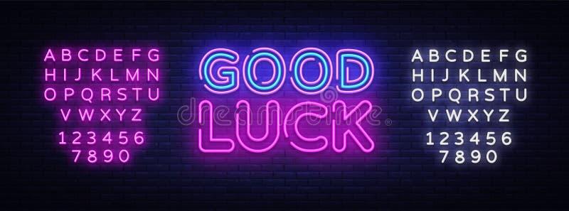 Good luck neon sign vector. Good luck Design template neon sign, light banner, neon signboard, nightly bright vector illustration