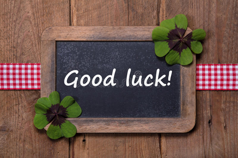 Good luck - old chalkboard with text - good luck - new year greetings royalty free stock photo