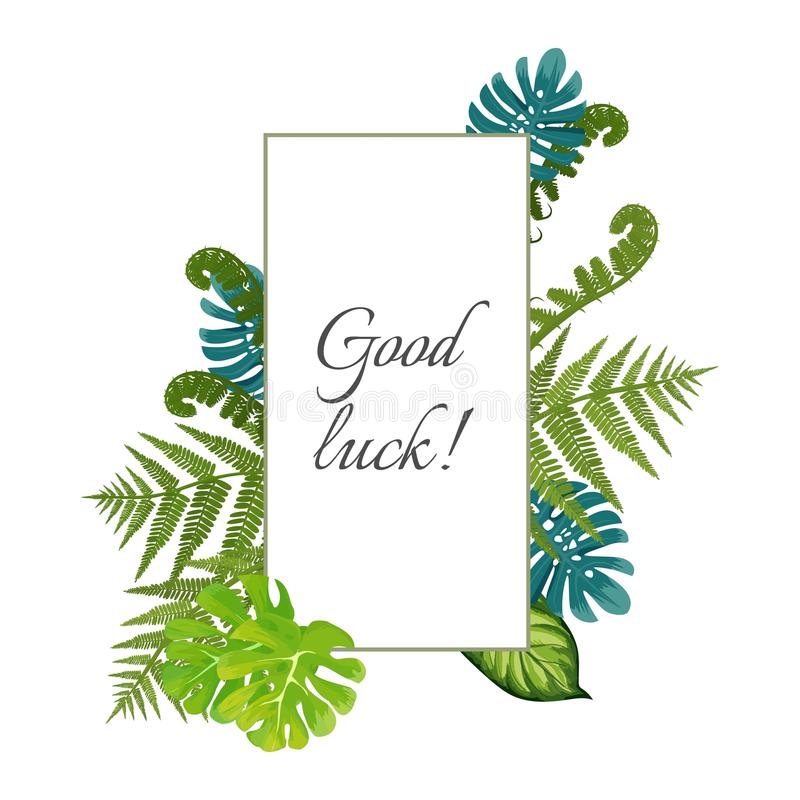 Free Good Luck Poster Decorated By Exotic Fern Leaves Vector Illustration Stock Photography - 118135402