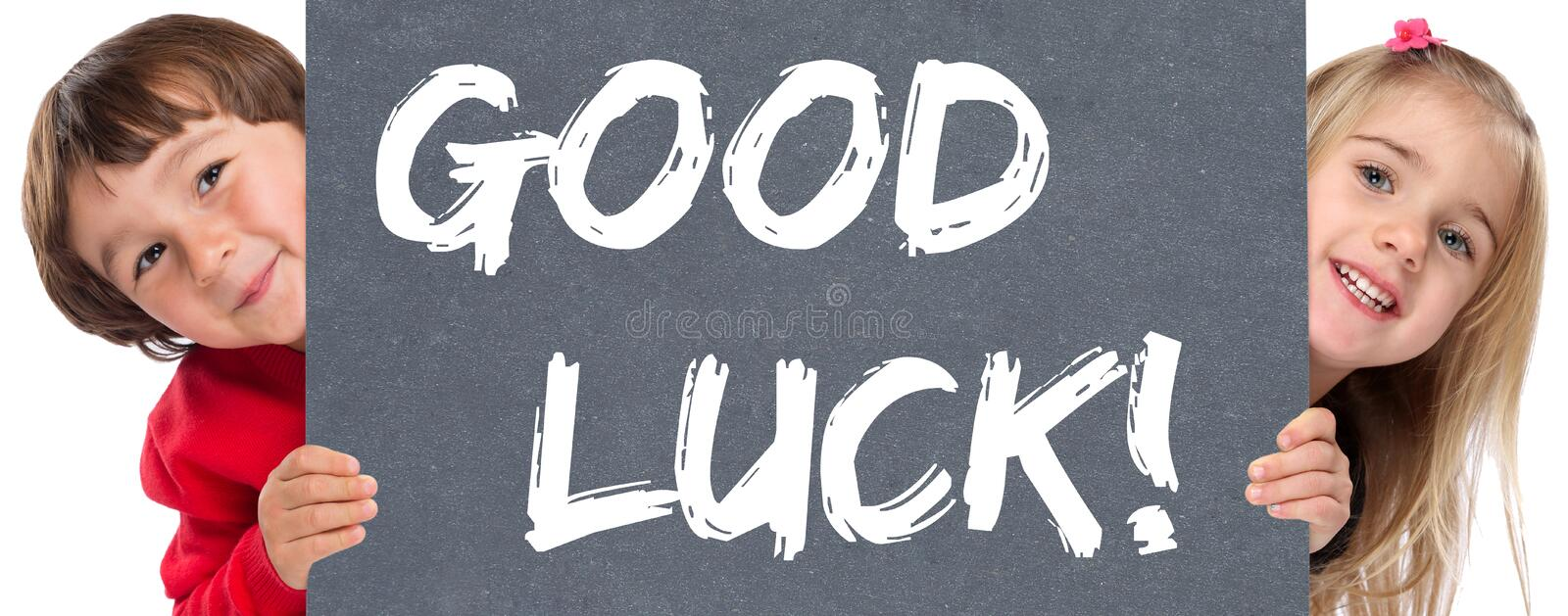 Good luck success successful test wish wishing young children royalty free stock images