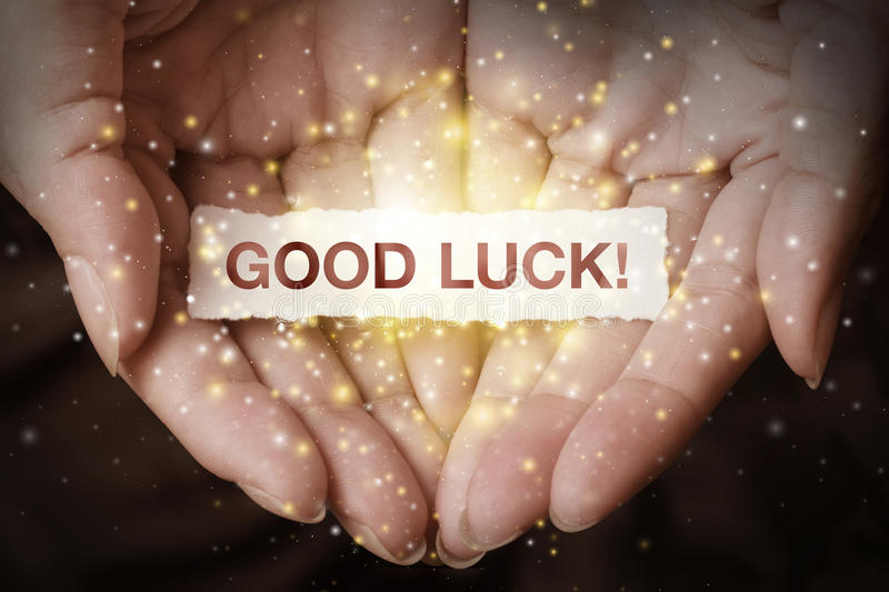 Good luck text on hand. Design concept stock image