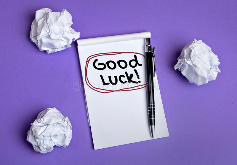 Good luck word. On notebook stock images