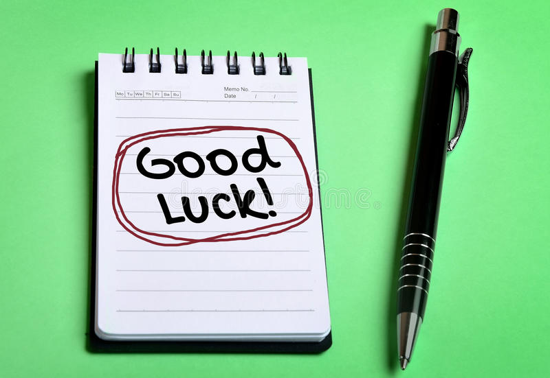 Good Luck word. On notebook page royalty free stock images