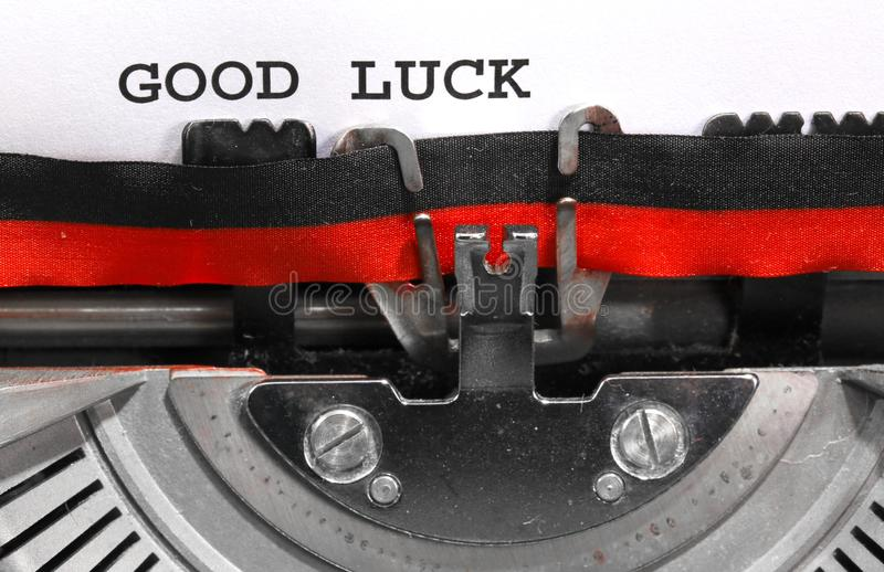 Good Luck written with the old typewriter. On white sheet stock images