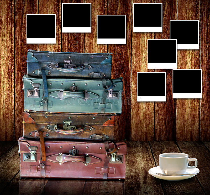 Good memories concept, Vintage travel luggage stock photography