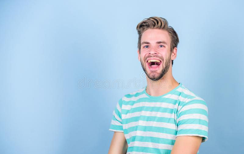 Good mood. Positive emotions concept. Man handsome hipster bristle facial hair smiling happy face. Happiness and joy stock photo