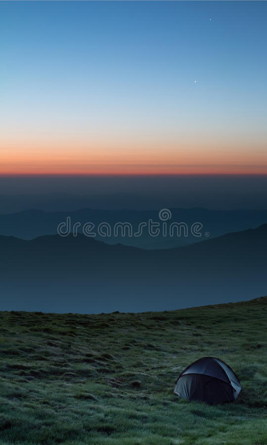 Download Good morning stock photo. Image of mountains, star, tent - 26112638
