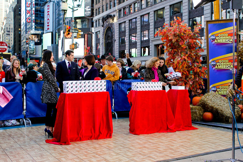 Good Morning America. American Television show Good Morning American does a live broadcast from outside in Times Square, Manhattan, NYC stock image