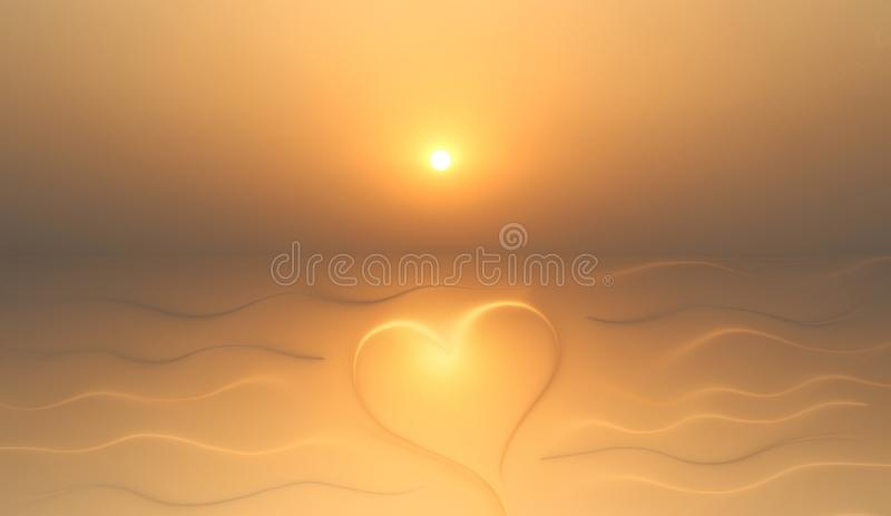 Good morning background with heart and sun. Great background for love themes. An abstract morning background with a feeling of love royalty free stock image