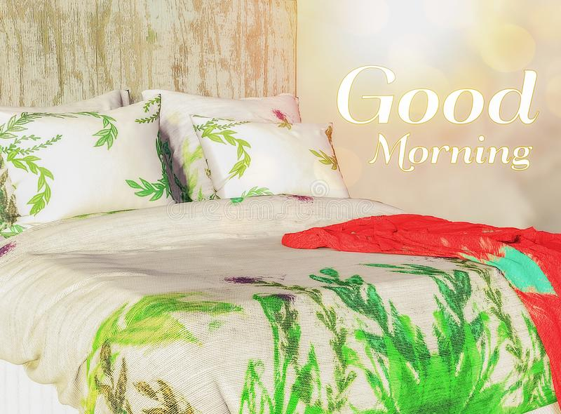 Good Morning background image with a king size bed. Vibrant background image of Good Morning with a kind size bed with vibrant tropical sheets and sparkling sun stock photos