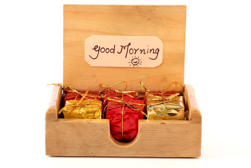 Good morning. Beautiful shot of good morning with box full of gifts stock images