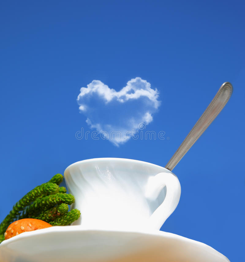 Good morning beverage. Morning beverage, tea or coffee over blue sky, conceptual image of coffee lovers royalty free stock photo