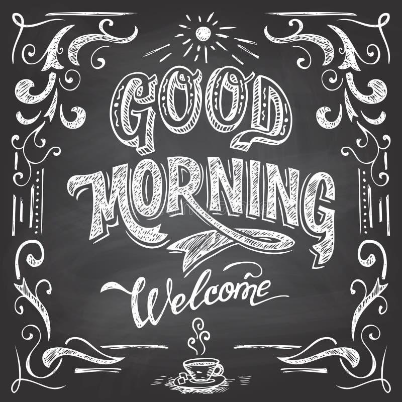 Good Morning cafe chalkboard stock illustration