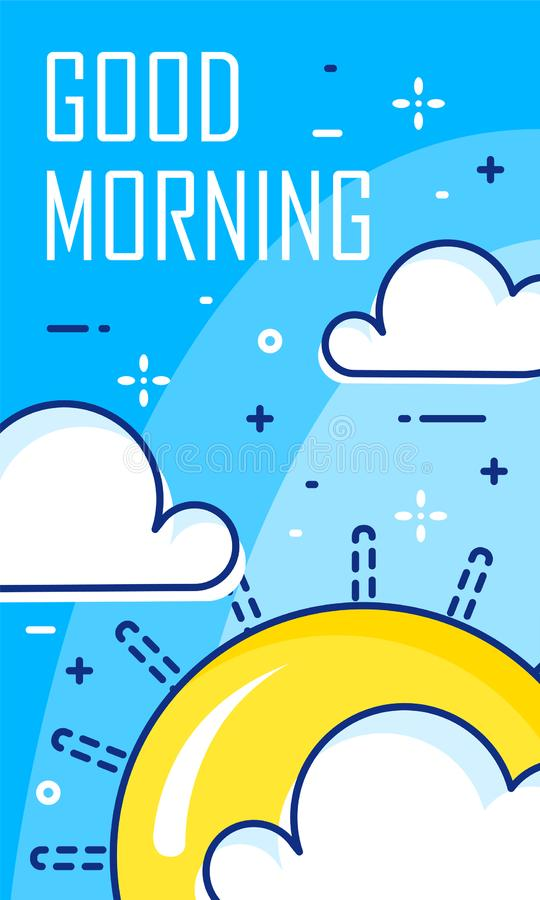 Good morning card with clouds and sun. Thin line flat design. Vector banner royalty free illustration